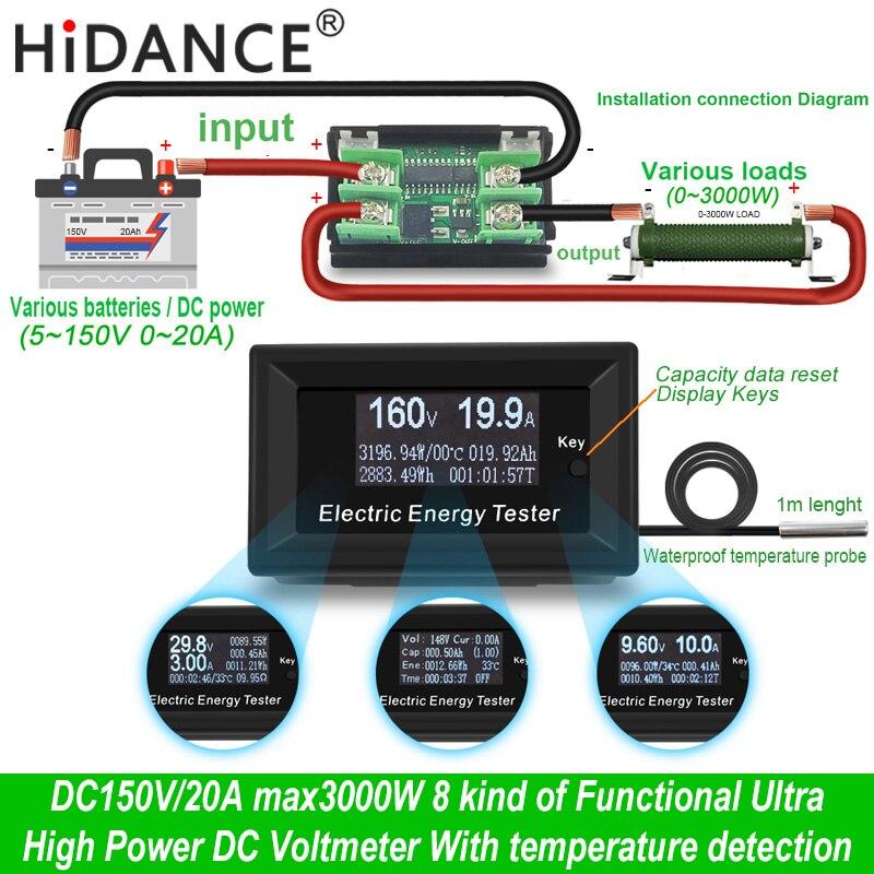 DC 150 v/20A 3KW wattímetro digital voltímetro amperímetro metros detector de tensão de alimentação de corrente volts indicador tester capacidade
