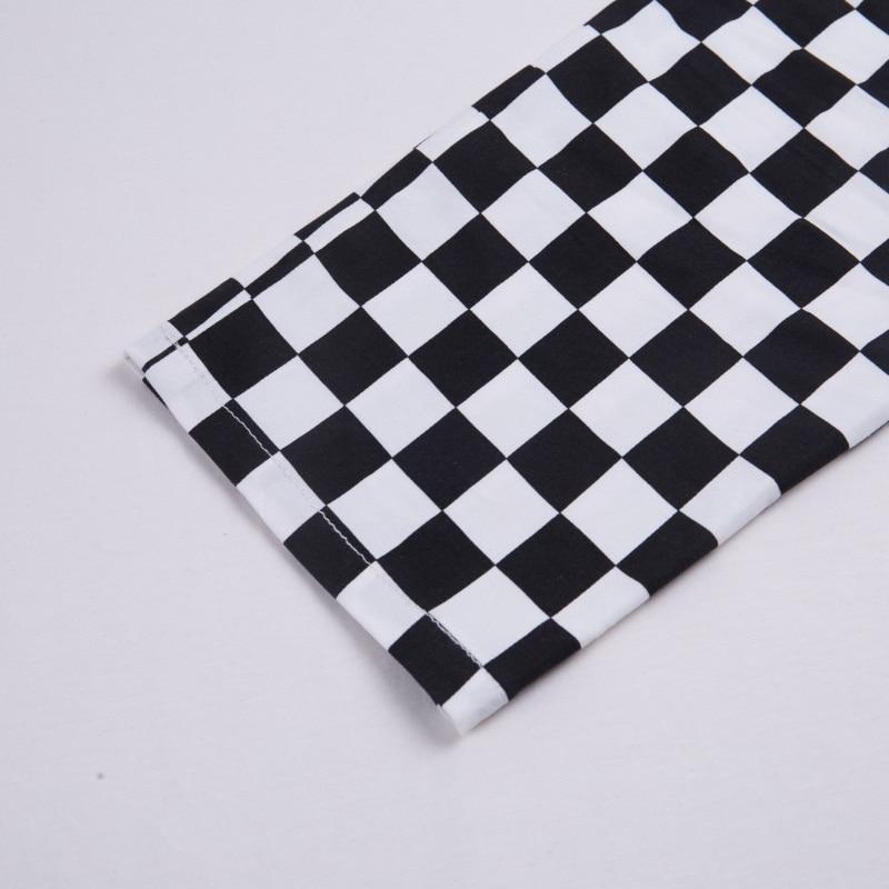 InstaHot Plaid Zipper Checkered Straight Pants Women Fashion Casual Slim Pockets Long Pants Black White Pencil Pantalon Femme 29