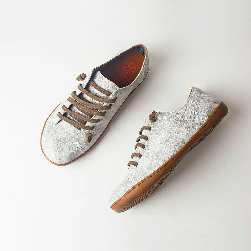 Chaussures d'été femme baleriny sans lacet femme chaussures plates printemps femme cuir décontracté groupe pieds nus chaussures sneakers - 5