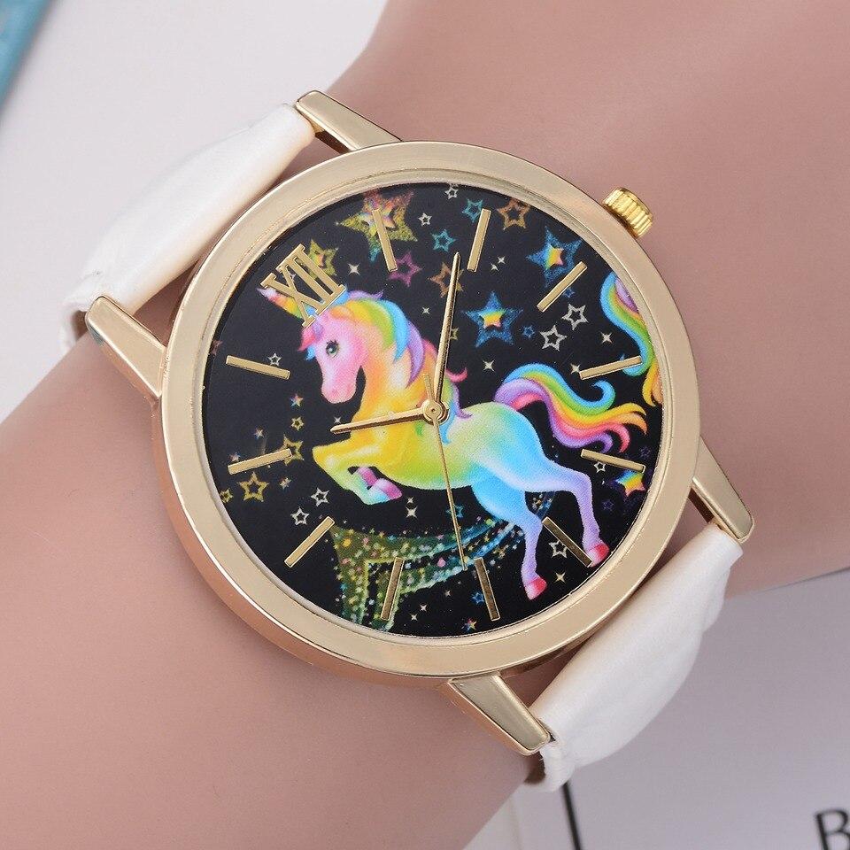 New 2018 Cute Unicorn Pattern Neutral Fashion Leather Quartz Wrist Watch Women Ladies Sport Gift Horloge Relogio Feminino