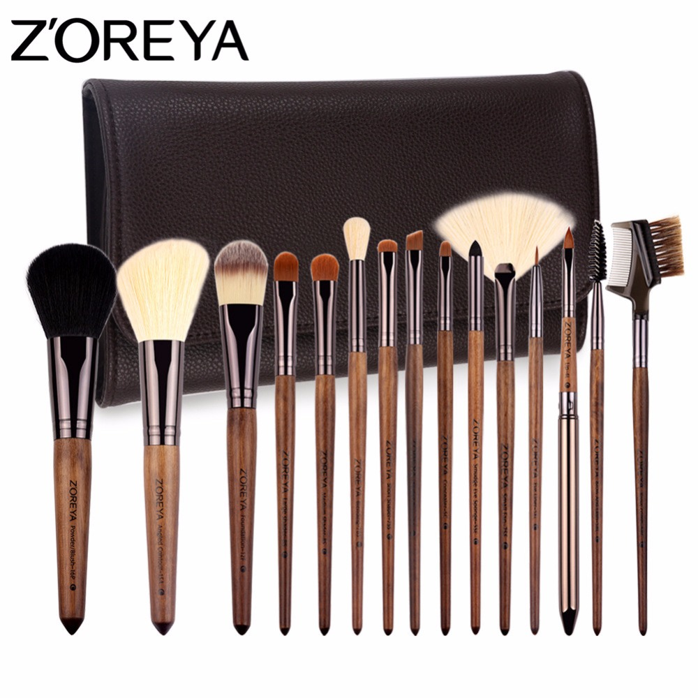 ZOREYA Make Up Brushes 15pcs Professional Cosmetics brush With PU Bag As Makeup Tool Set zoreya make up brush set 15pcs makeup brushes with pu leather bag powder contour foundation concealer brush as cosmetics tool