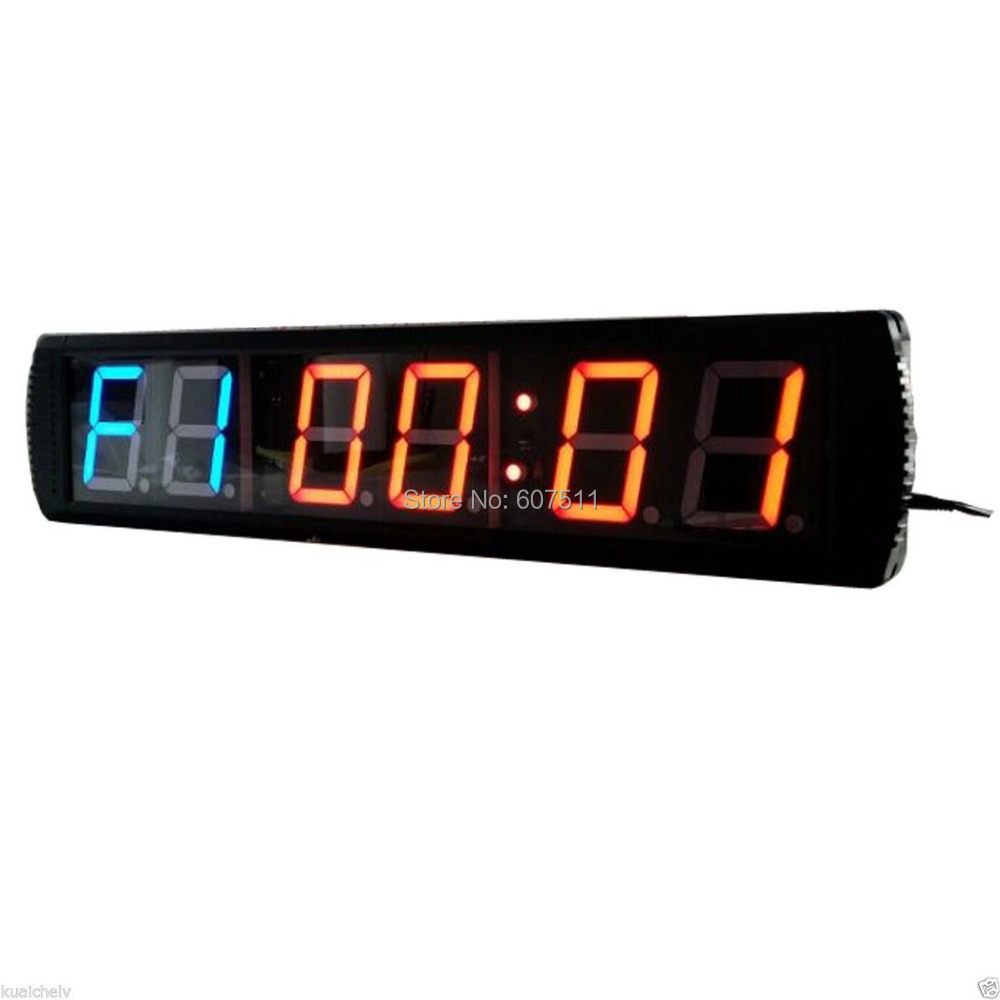 4 digital high portable programmable sport led interval timer 4 digital high portable programmable sport led interval timer mma gym boxing fitness training led digital countdown wall clock in wall clocks from home amipublicfo Choice Image