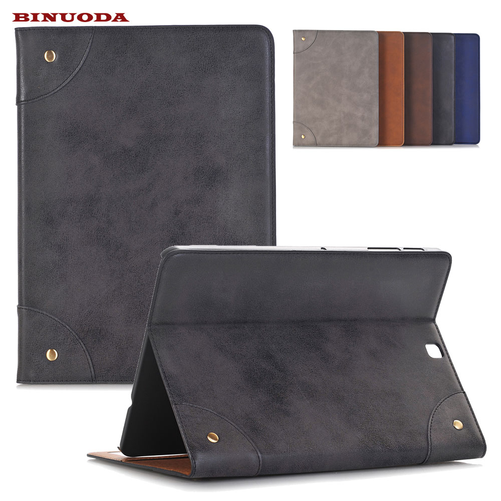 High Quality Retro PU Leather Stand Smart Case For Samsung Galaxy Tab S2 9.7 SM-T815 SM-T810 Cover Auto Sleep Wake up Function luxury folding flip smart pu leather case book cover for samsung galaxy tab s 8 4 t700 t705 sleep wake function screen film pen