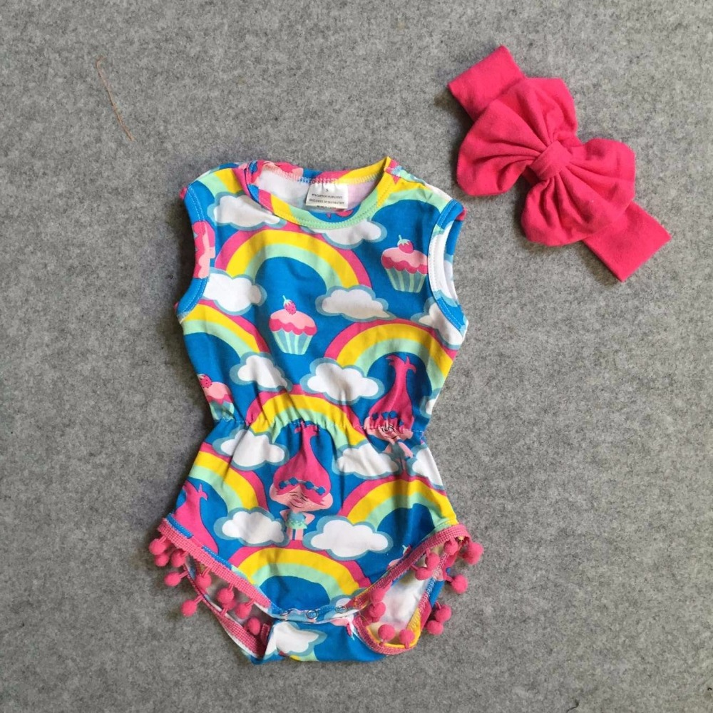 new arrival cute baby girls Summer clothing infant romper tutu cotton baby troll rainbow cake romper pom pom match headband baby girl 1st birthday outfits short sleeve infant clothing sets lace romper dress headband shoe toddler tutu set baby s clothes