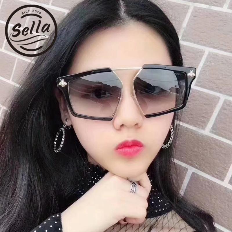 1f97752b4c Sella nueva moda mujeres hombres irregulares Pentagon gafas de sol marca  diseñador abeja decoración Popular cuadrado transparente marco gafas