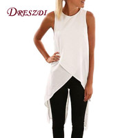Dreszdi Summer Casual Cross Black Tank Top Women High Split Back Sleeveless Blouse Cool Hi Low