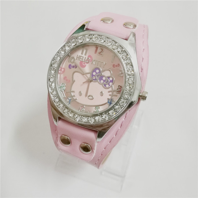 Diamond Crystal cartoon hello kitty kids fashion quartz bracelet watches women g