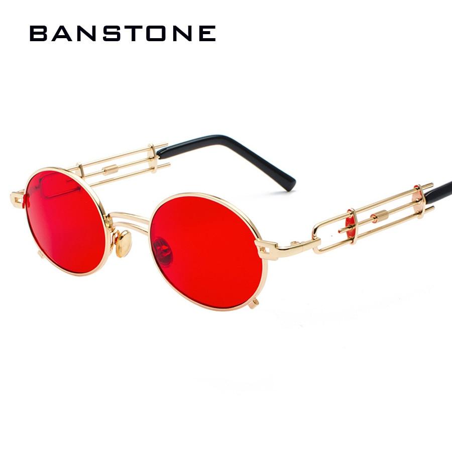 9d19660df72 BANSTONE Men Metal Oval Frame Steampunk Gothic Vampire Sunglasses Unique  Retro 1980s Sun Glasses Cosplay Styling Oculos De Sol -in Sunglasses from  Apparel ...