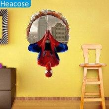 60*90 cm 3D revés de spiderman pegatinas de pared para cuartos de los niños calcomanías de vinilo removible cartel decoración del hogar