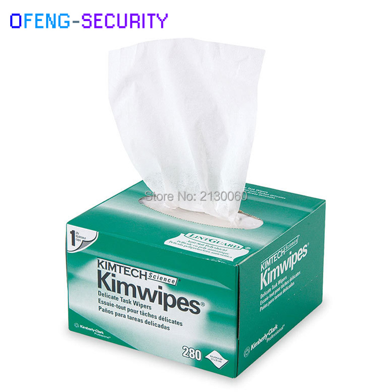 Free Shipping 280pcs/box, 5boxes, 1400pcs Fiber Cleaning Tool Kimwipes Dustfree Paper Fiber Optic Low-lint Wipes