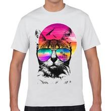 New Product Regular Short  White T Shirt  2017 Cat Head 3D Print Cartoon T Shirt Cotton Tee Fashion O-Neck Casual Tops Tee  XQ-5