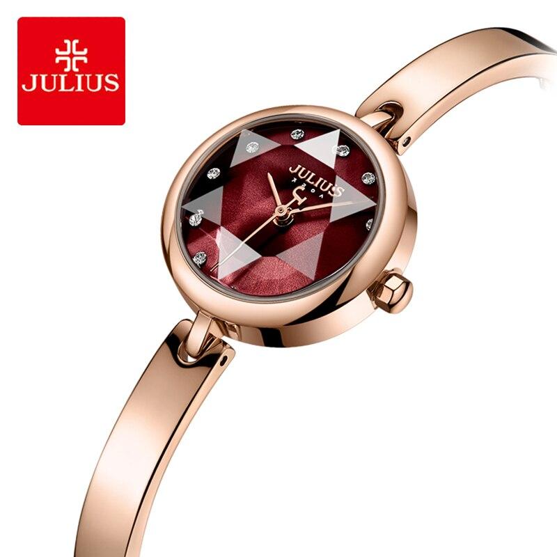 Julius Brand Luxury Stainless Steel Bracelet Watch Woman Simple Starry Sky Rhinestone Quartz Dress Wristwatches Clock Gifts