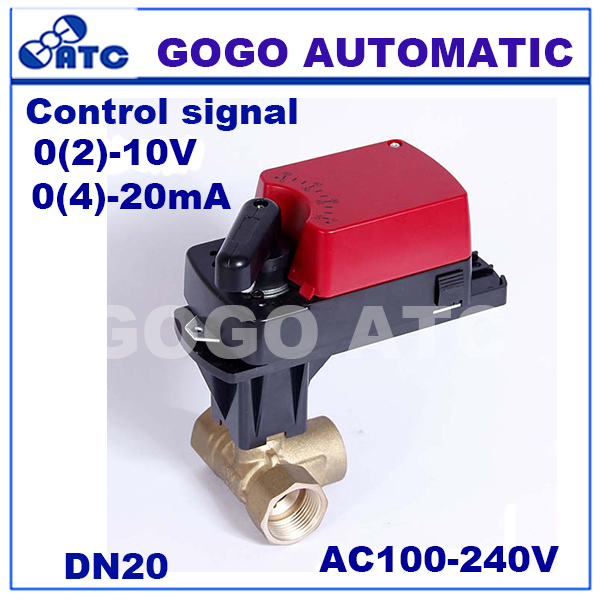 """GOGO DN20 G3/4"""" 4Nm 4-20mA control electric ball valve 3 way L flow proportional motorized valve for HVAC system AC100-240V,"""