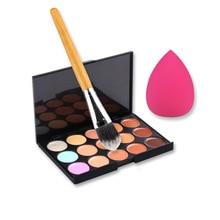 New Arrival 15 Color Concealer Palette + Makeup Brush + Cute Pink Sponge Puff Makeup Contour Palette