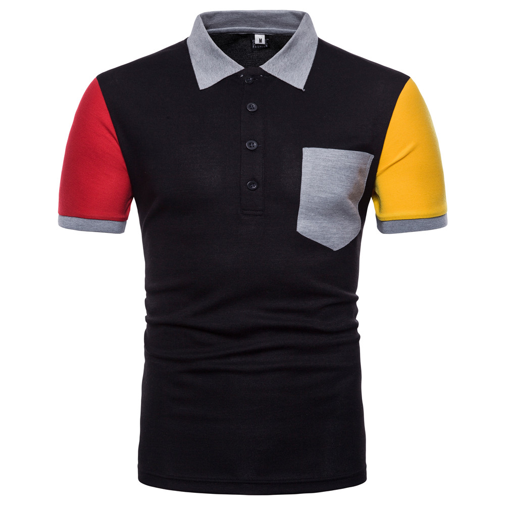 Men   Polo   Shirt Short Sleeve Cotton Comfortable Anti-wrinkle Patchwork Pockets Color Matching Turndown Collar Men   polo   Shirts