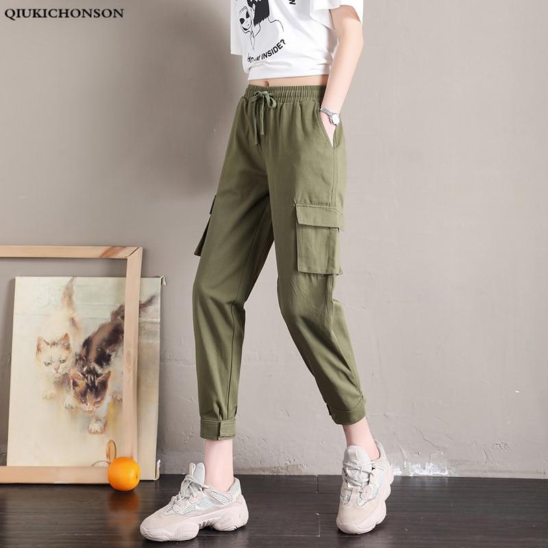 Qiukichonson High Waist Casual Loose Joggers Women Cargo Pants 2019 Spring New Fashion Harem Pants Pockets Black Capris Trousers