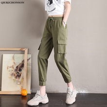 Qiukichonson High Waist Casual Loose Joggers Women Cargo Pants 2019 Spring New Fashion Harem Pants Pockets Black Capris Trousers split casual loose black pants capris elastic high waist trousers women letter print high street sweatpants joggers