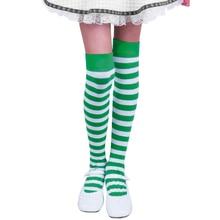 Женские чулки выше колена для девочек, вечерние Гольфы на День Святого Патрика для ролевых игр, чулки в полоску с принтом для ирландского фестиваля