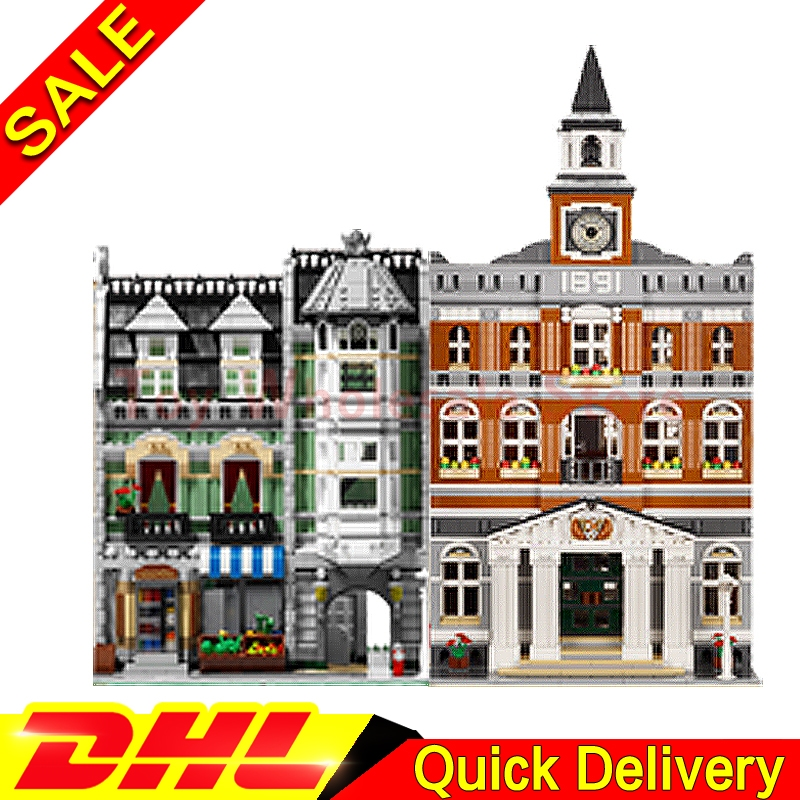 Lepin 15003 town hall + Lepin 15008 Green Grocer City Street Model Building Blocks Bricks Kits lepins Toy Clone 10224 10185 new lepin 15003 2859pcs the topwn hall model building blocks kid toys kits compatible with 10224 educational children day gift