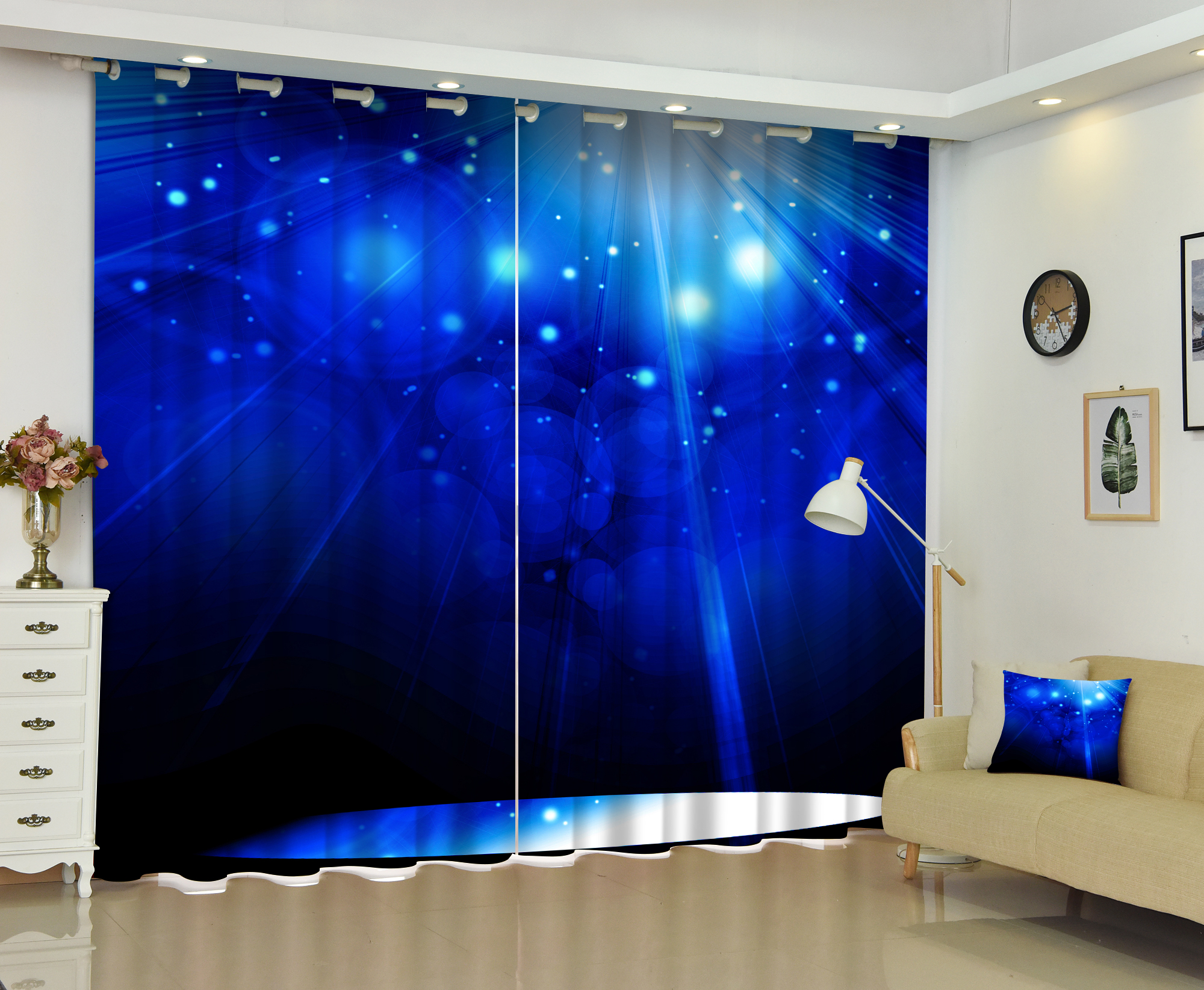 Luxury Blue Light 3D Curtains Bedding Room Window Curtain Thick Backout Shade Curtains for Hotel Customized Size