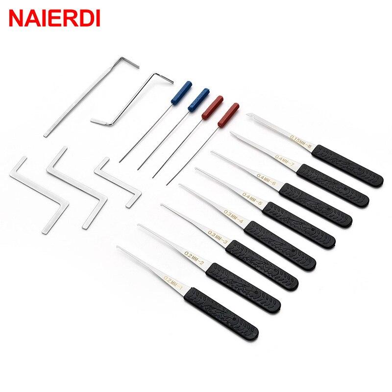 NAIERDI 17ピース鍵屋ツール用品壊れたキー削除自動抽出セットロックピックハードウェアステンレス鋼DIYハンドルツール
