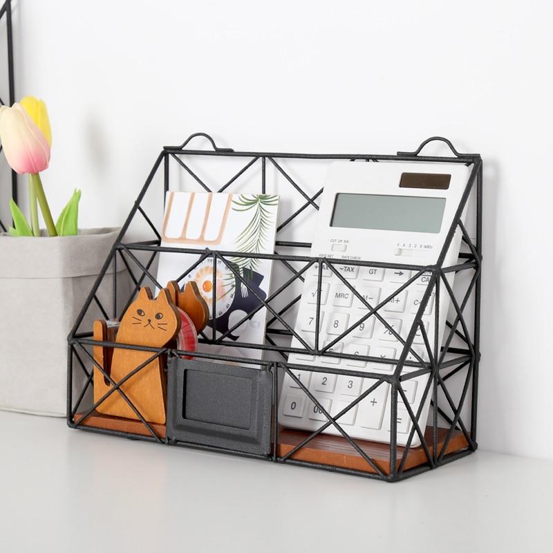Creative Magazine Desktop Storage Racks Wrought Iron Shelves Art Black Multi Compartment File Organizer цена