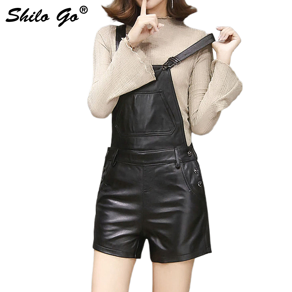 SHILO GO Leather Overalls Shorts Womens Autumn Fashion Sheepskin Genuine Leather Shorts Concise Loose Pocket Spaghetti Strap