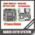 Sony imx322 + hi3516c 1080 p 2mp 38mm x 38mm tamaño junta diy módulo de cámara ip ip cámara principal o para reemplazo de la reparación