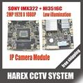 Sony imx322 + hi3516c 1080 p ip câmera de 2mp 38mm x 38mm tamanho principal board módulo diy câmera ip ou para reparação substituição