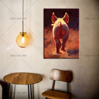 High Quality Professional Factory Skilled Painter Handmade Pig Tail Oil Painting On Canvas Pigs Ass Painting For Kitchen Decor