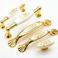 Continental cerâmica branca alça Gaveta do armário Móveis Handle Wardrobe porta punho do Ouro Hardware Idílico