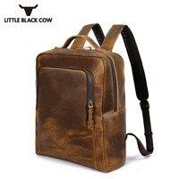 Backpack Men Vintage High Quality Genuine Leather Laptops Travel Backpack Casual School Satchel Bags Teenager Business Rucksack