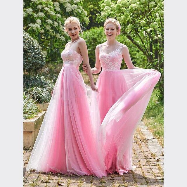 2017 Pink Blush Barato Beach Vestidos de dama de Honor Junior País ...