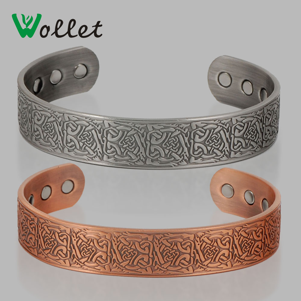 Aliexpress : Buy Wollet Jewelry Anti Arthritis Rheumatism New Floral  Embossed Men Magnetic Pure Copper Bracelet Bangle For Women Men From  Reliable