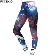 FCCEXIO New Style 2019 Leggings Women Galaxy Space Digital Print Legging Fitness Leggins Workout Plus Size Pants Legins Trousers(China)