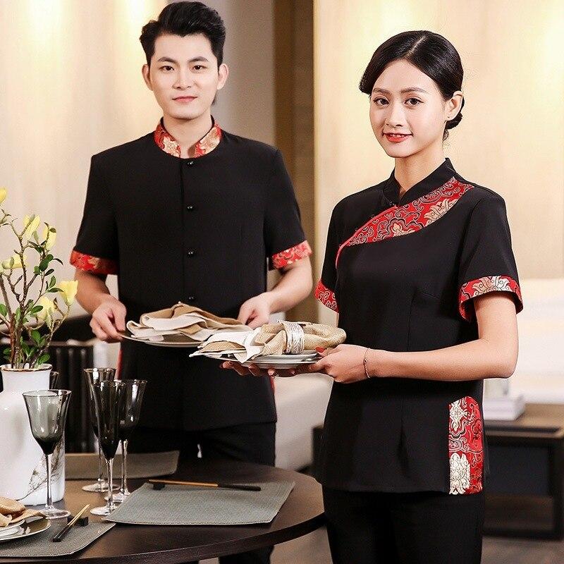 Summer Hotel Short Sleeve Waitress Uniform Catering Restaurant Work Clothing Chinese Traditional Restaurant Workwear Waiter Tops