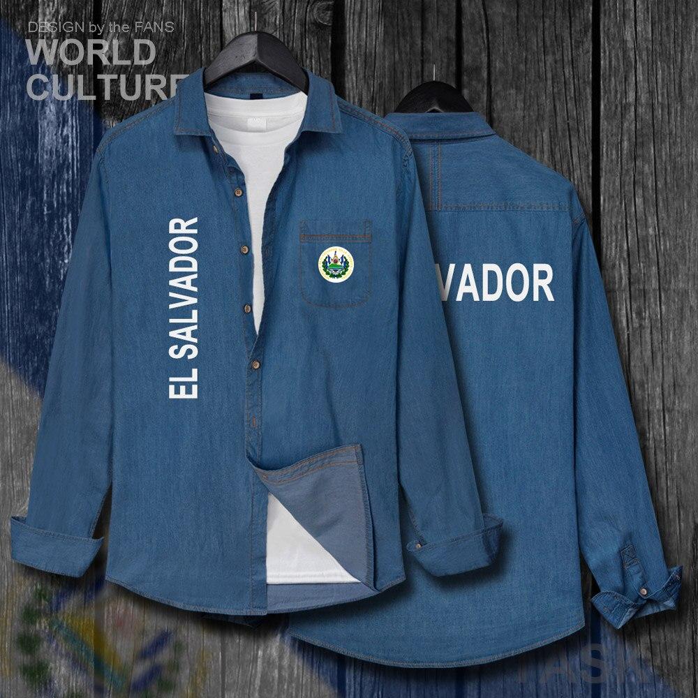 El Salvador Salvadoran Slv Männer Kleidung Herbst Jacke Drehen-unten Kragen Jeans Hemd Langarm Cowboy Mantel Mode Flags Tops 20 HeißEr Verkauf 50-70% Rabatt