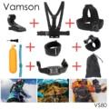 Gopro acessórios set para gopro 5 4 3 + 3 2 1 eken h9r f60r w9r xiaomi yi 4 k sj4000 ação cam com cinta de cabeça vara flutuante vs80