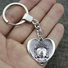 Antique Silver 32x32mm Buddha In Heart Keychain New Vintage Handmade Metal Key Ring Party Gift