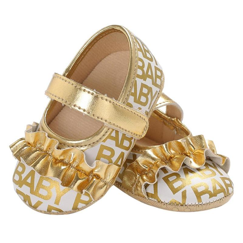 Baby Moccasins Infant Girls Prewalker Letters Print Princess Anti-Skid Casual Shoes Toddlers Summer Breathable Soft Sole Shoes