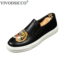 VIVODSICCO New Men Trendy Tiger embroidery Loafers Dress Shoes Italy Mlae Homecoming Prom Party Pageant Wedding Shoes Moccasins