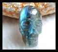 Halloween Gift!Semiprecious Stones Carved Skull Flame Labradorite Cabochon,25*14*8mm 4.86g Carving labradorite Decoration