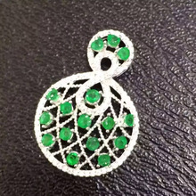 Natural green emerald pendant S925 silver Natural gemstone Pendant Necklace trendy universe fan women party fine