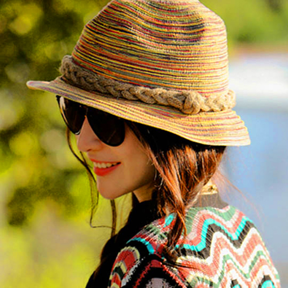 Fashionable Women Straw Sunhat European Block Seaside Photo Casual Sunhat Spring Summer Holiday Streets Natural Style Straw Hats