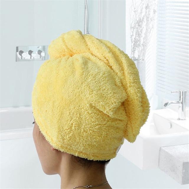 Toalla turbante para el pelo suave de color amarillo