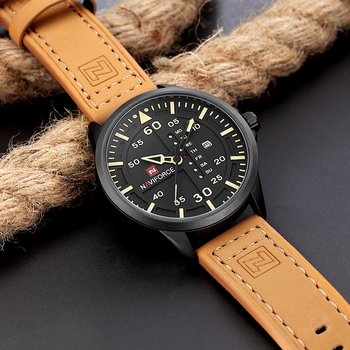 NAVIFORCE Top Luxury Brand Mens Military Sports Watches Leather Band Casual Waterproof Quartz Wristwatch Clock Relogio Masculino image