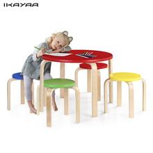 ikayaa de stock toddler children table set wood round kids table and 4 chairs set 50kg load capacity kids table chair set - Toddler Wooden Table And Chairs