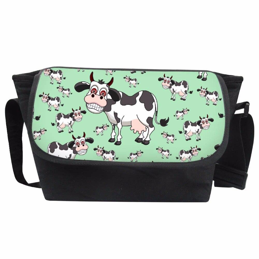 Coloranimal Fashion Boys Girls School Bags Middle School Student Canvas Messenger Bag Cute 3D Cartoon Cow Children Daily Satchel