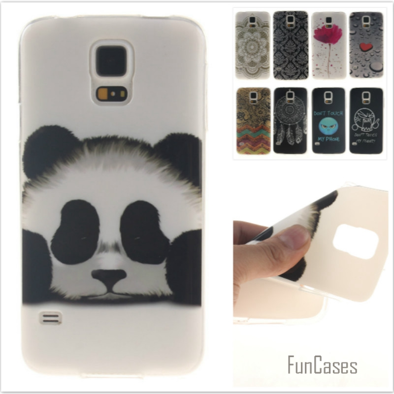 Fashion cute Tiger Lion Pattern soft silicone cover TPU case for Samsung Galaxy S5 i9600 Flower Cartoon Coque Fundas Capa