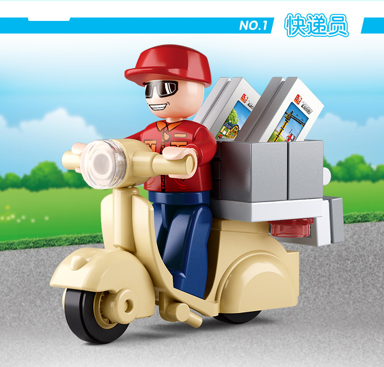 Sluban Model font b Toy b font Compatible with Lego B0563 28pcs Courier Delivery Man Model